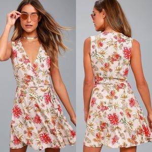 Lulu's Best In Bloom Blush Floral Print Wrap Dress